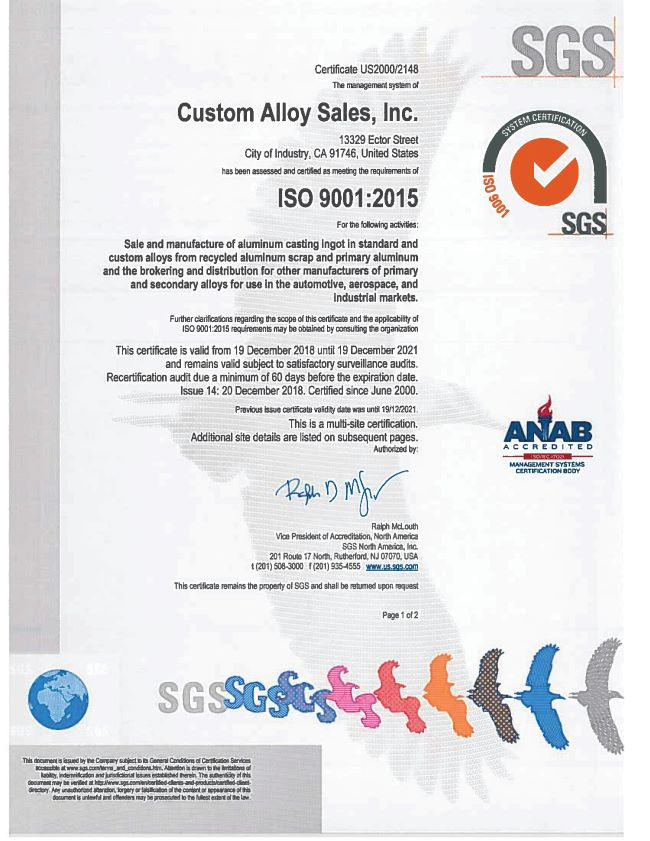 Custom Alloy Sales Inc ISO Certificate 1