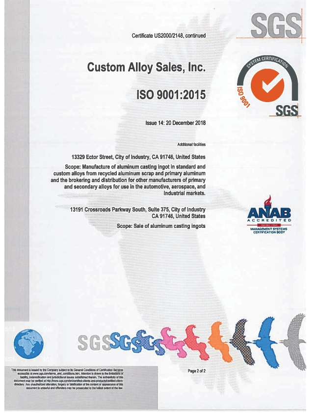 Custom Alloy Sales Inc ISO 9001 Certificate